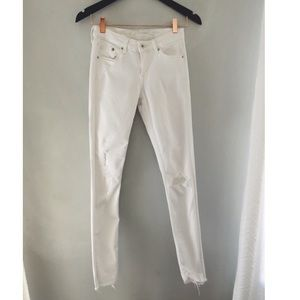 H&M white denim skinny jeans size 25